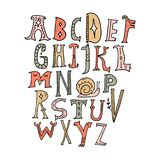 Alfabeto das crianças Animais mágicos feericamente do vetor Rotulando, letras iniciais, estilo medieval do vintage ilustração stock
