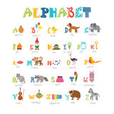Alfabeto das crianças com os animais bonitos dos desenhos animados e o outro elem engraçado Fotografia de Stock Royalty Free