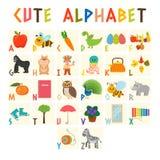 Alfabeto das crianças com os animais bonitos dos desenhos animados e o outro elem engraçado Fotos de Stock Royalty Free