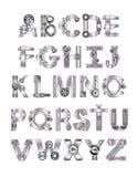 Alfabeto das ferramentas e das facilidades técnicas ilustração stock