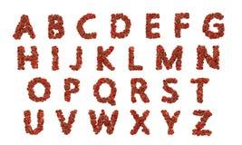 Alfabeto de ABC hecho de glóbulos rojos Ilustración del Vector