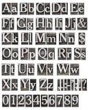 Alfabeto de cartas del metal Foto de archivo libre de regalías