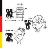 Alfabeto de Deutsch Xilófono, yeti, limón Letras y caracteres del vector Foto de archivo libre de regalías