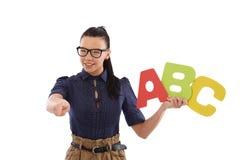 Alfabeto de enseñanza del School-marm Imágenes de archivo libres de regalías