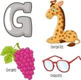 Alfabeto de G dos desenhos animados ilustração royalty free