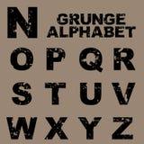 Alfabeto de Grunge fijado [N-Z] ilustración del vector