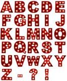Alfabeto de incandescência no fundo branco Foto de Stock