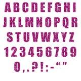 Alfabeto de la acuarela con un modelo de siluetas púrpuras y rosadas de flores y de hojas stock de ilustración