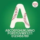 Alfabeto de la bola del béisbol y vector del dígito ilustración del vector