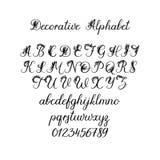 Alfabeto de la caligrafía del vector Letras florales Fuente manuscrita decorativa del cepillo para: Monograma de la boda, logotip stock de ilustración