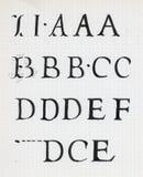 Alfabeto de la caligrafía del vintage fotografía de archivo