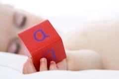 Alfabeto de la explotación agrícola del bebé el dormir Foto de archivo libre de regalías