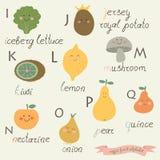 Alfabeto de la fruta del Veggie Foto de archivo libre de regalías
