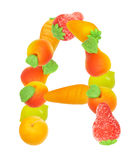 Alfabeto de la fruta, la letra A Fotos de archivo