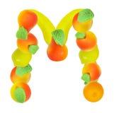 Alfabeto de la fruta, la letra M Imagen de archivo libre de regalías