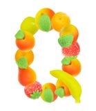 Alfabeto de la fruta, la letra Q Imagenes de archivo
