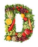 Alfabeto de la fruta y verdura fotos de archivo
