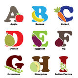 Alfabeto de la fruta y verdura Imagen de archivo libre de regalías