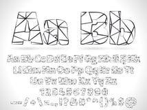 Alfabeto de la fuente de Lowpoly del vector con números y Imagenes de archivo