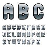 Alfabeto de la fuente del cromo Imagen de archivo libre de regalías
