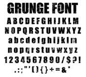 Alfabeto de la fuente del Grunge y sistema del número Imagen de archivo libre de regalías