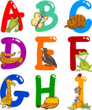 Alfabeto de la historieta con los animales stock de ilustración