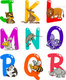 Alfabeto de la historieta con los animales ilustración del vector