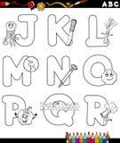 Alfabeto de la historieta para el libro de colorear Fotografía de archivo libre de regalías