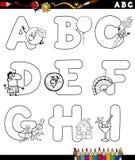 Alfabeto de la historieta para el libro de colorear Imagen de archivo libre de regalías
