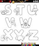Alfabeto de la historieta para el libro de colorear Fotos de archivo libres de regalías