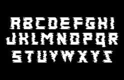 Alfabeto de la interferencia Fuente blanco y negro con efecto de la distorsión Ilustración aislada del vector Imagen de archivo