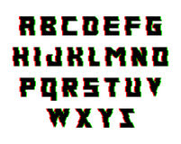 Alfabeto de la interferencia Fuente con efecto de la distorsión Ilustración aislada del vector Fotos de archivo libres de regalías