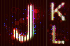Alfabeto de la luz de neón del vector - J K L Fotografía de archivo