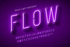Alfabeto de la luz de neón, fuente que brilla intensamente adicional multicolora libre illustration
