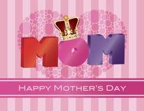 Alfabeto de la MAMÁ del día de madres con el ejemplo de la tarjeta de felicitación de la corona ilustración del vector