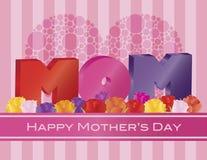 Alfabeto de la MAMÁ del día de madres con el ejemplo de la tarjeta de felicitación de las rosas stock de ilustración