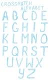 Alfabeto de la marca de rayitas cruzadas imagenes de archivo