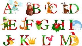 Alfabeto de la Navidad Imágenes de archivo libres de regalías