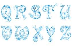 Alfabeto de la Navidad con los copos de nieve Fotografía de archivo libre de regalías
