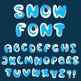 Alfabeto de la nieve de la Navidad Imágenes de archivo libres de regalías