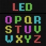 Alfabeto de la pantalla LED Fotografía de archivo