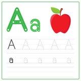 Alfabeto A de la tarjeta de la escritura Fotografía de archivo