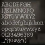 Alfabeto de la tiza del vector en la pizarra Imágenes de archivo libres de regalías