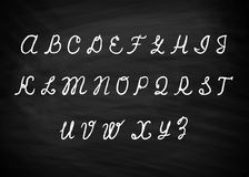 Alfabeto de la tiza en vector de la pizarra Imagen de archivo libre de regalías
