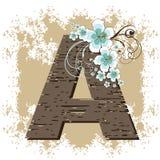 Alfabeto de la vendimia del grunge del hibisco Imágenes de archivo libres de regalías