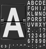 Alfabeto de la visualización del aeropuerto Imagen de archivo libre de regalías