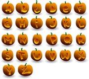 Alfabeto de las calabazas de Víspera de Todos los Santos Imagen de archivo