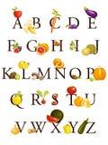 Alfabeto de las frutas y verdura ilustración del vector