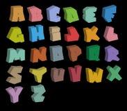 alfabeto de las fuentes del color de la pintada 3D sobre negro Imagen de archivo