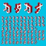 Alfabeto de las katakanas isométrico Fotografía de archivo